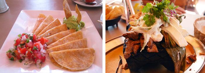 Quesadillas and Molcajete at La Tradicion.