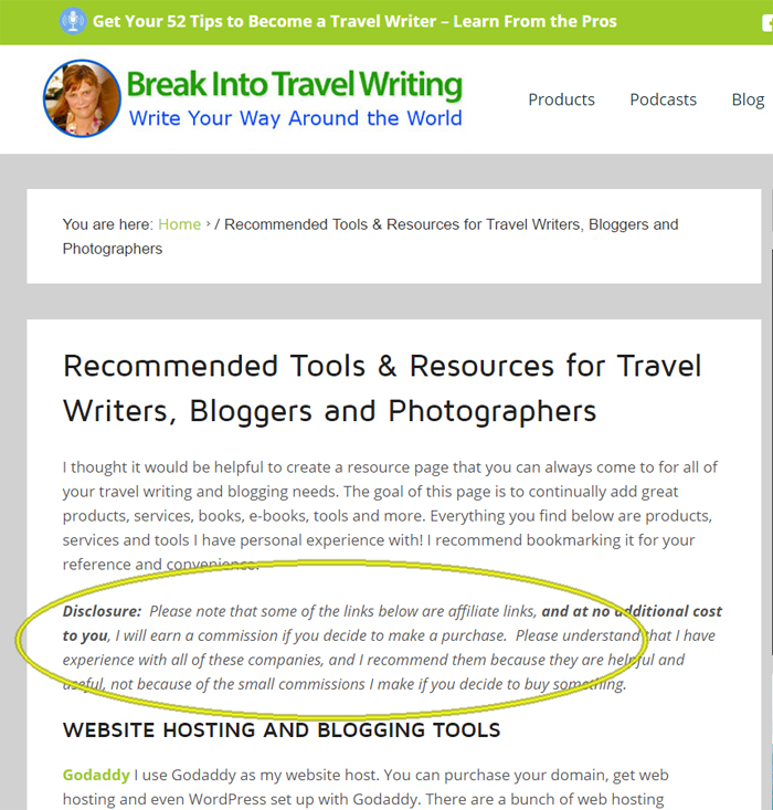 FTC Disclosure example for travel bloggers