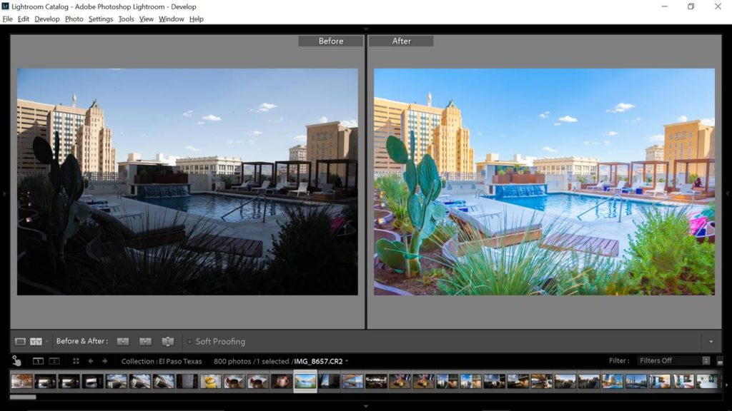 travel photo with lightroom before and after