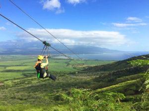 Candy Aluli ziplining on Maui