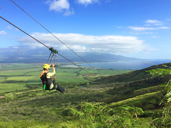 Candy Aluli ziplining on Maui