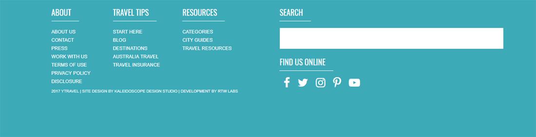 Y Travel Blog Website footer