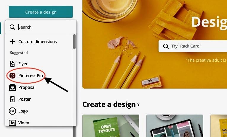 Pinterest Pin options on Canva