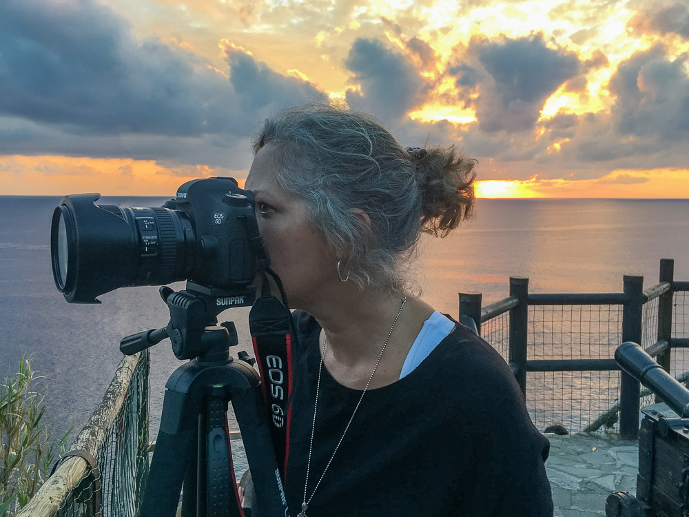 Lori shooting with the Canon 6D Mark ii in Cinque Terre Italy